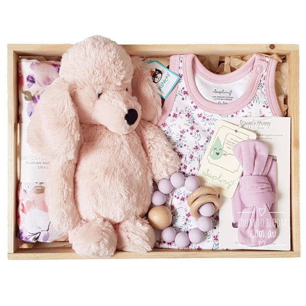 Room to Bloom Frenchie Baby Gift - Wooden Box Hamper