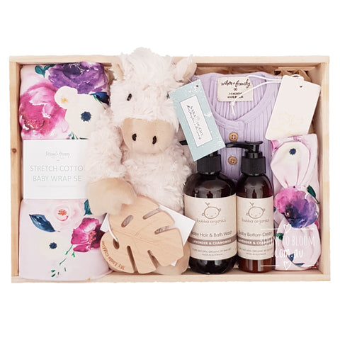 Room to Bloom Full Bloom Baby Gift - Wooden Box Hamper