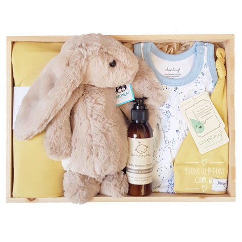 Room to Bloom Glow-Getter Baby Gift - Wooden Box Hamper