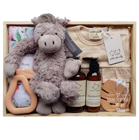 Room to Bloom Grace Baby Gift - Wooden Box Hamper