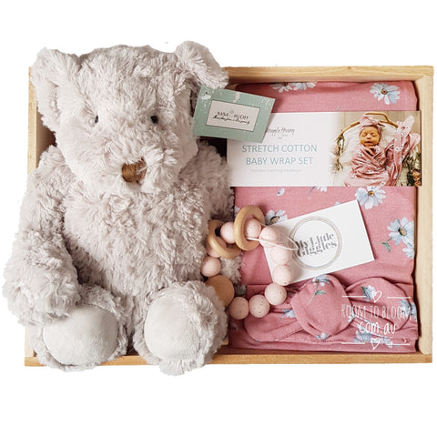 Room to Bloom Happy Daisy Baby Gift - Wooden Box Hamper