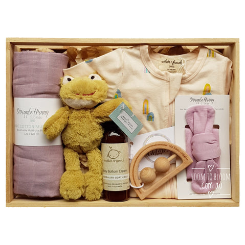 Room to Bloom Harmony Baby Gift - Wooden Box Hamper
