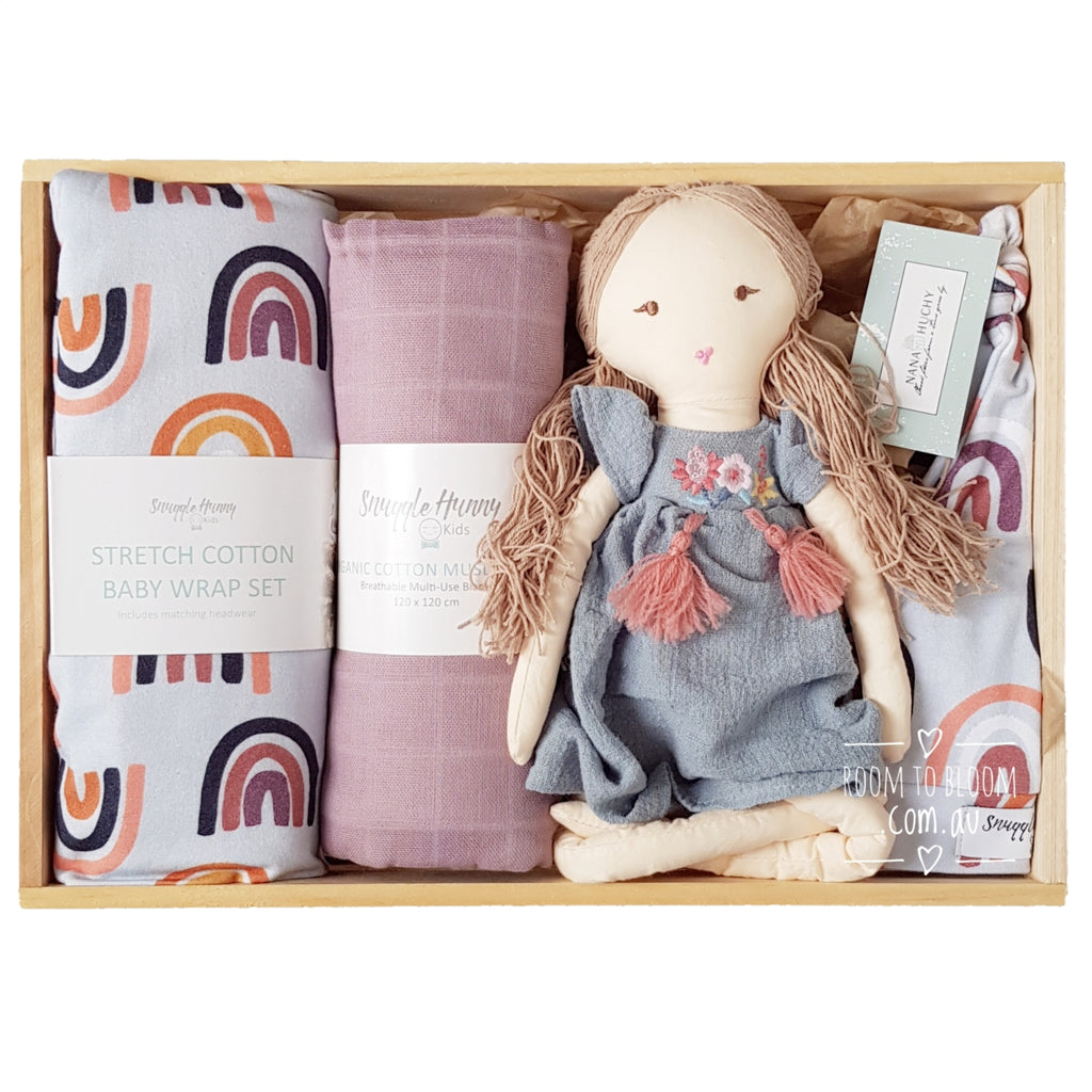 Room to Bloom Hippy Days Baby Gift - Wooden Box Hamper