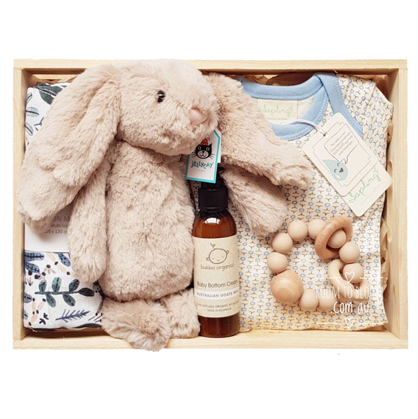Into the Blue Baby Gift - Wooden Box Hamper
