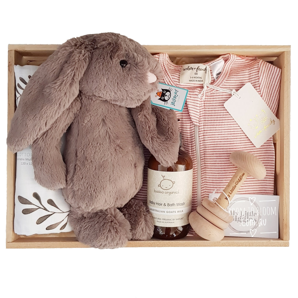 Room to Bloom Jaffa Baby Gift - Wooden Box Hamper