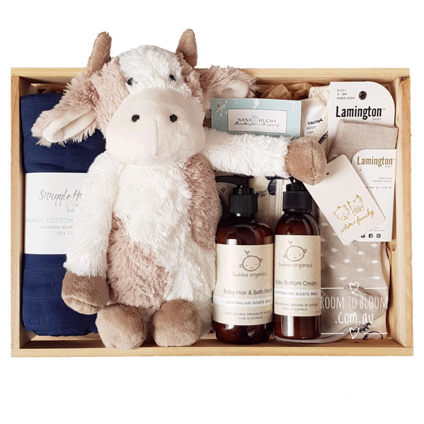 Room to Bloom Jersey Baby Gift - Wooden Box Hamper