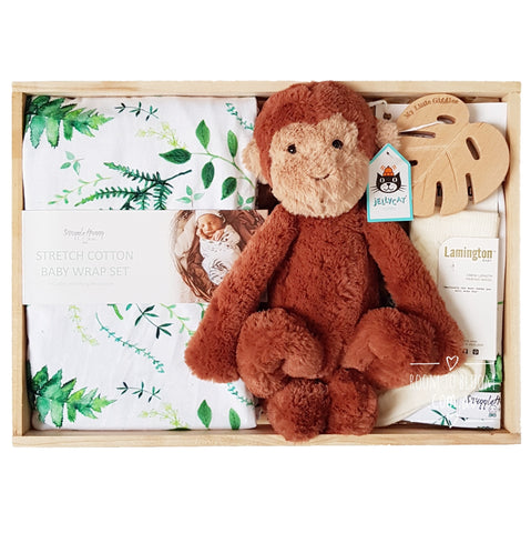 Room to Bloom Jungle Fever Baby Gift - Wooden Box Hamper