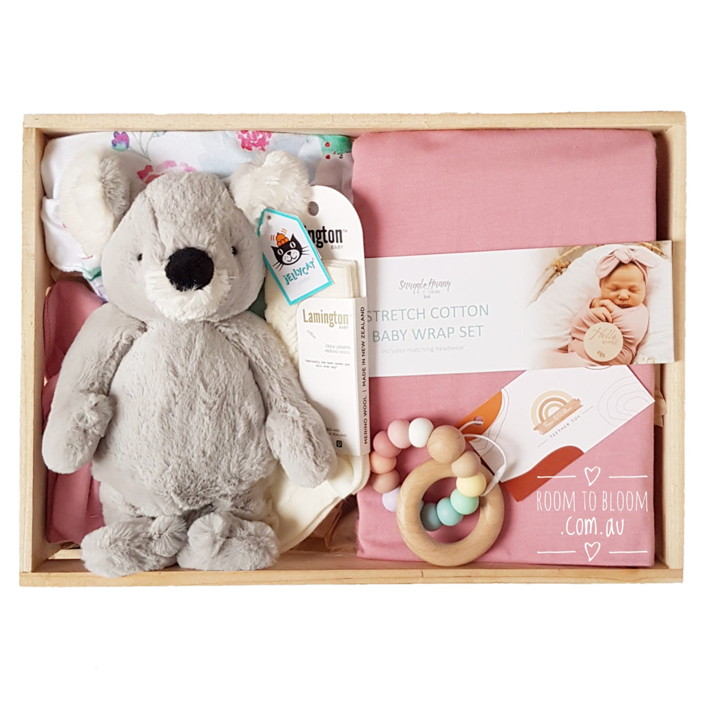Room to Bloom Lilly Pilly Baby Gift - Wooden Box Hamper