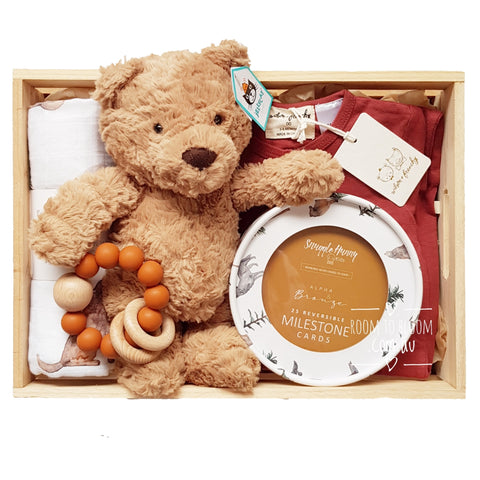 Room to Bloom Little Cub Baby Gift - Wooden Box Hamper