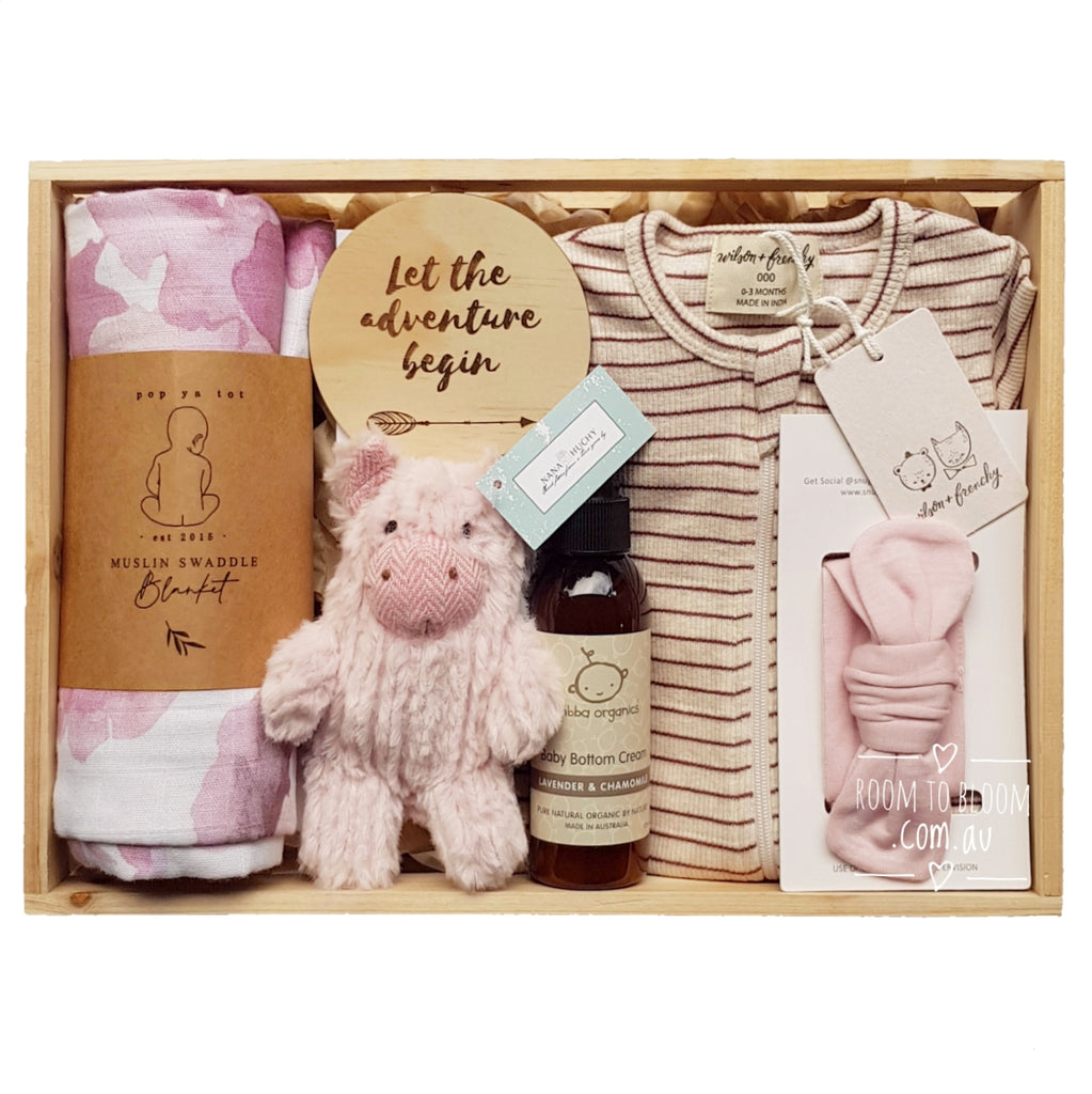 Room to Bloom Little Pink Piggy Baby Gift - Wooden Box Hamper