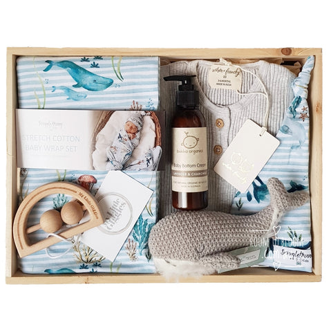 Room to Bloom Make Waves Baby Gift - Wooden Box Hamper