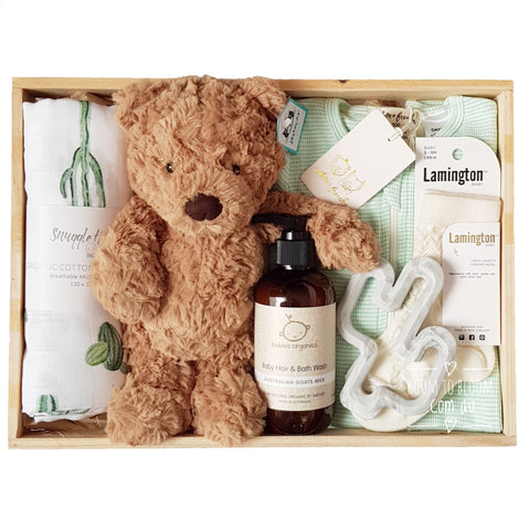 Room to Bloom Minty Baby Gift - Wooden Box Hamper