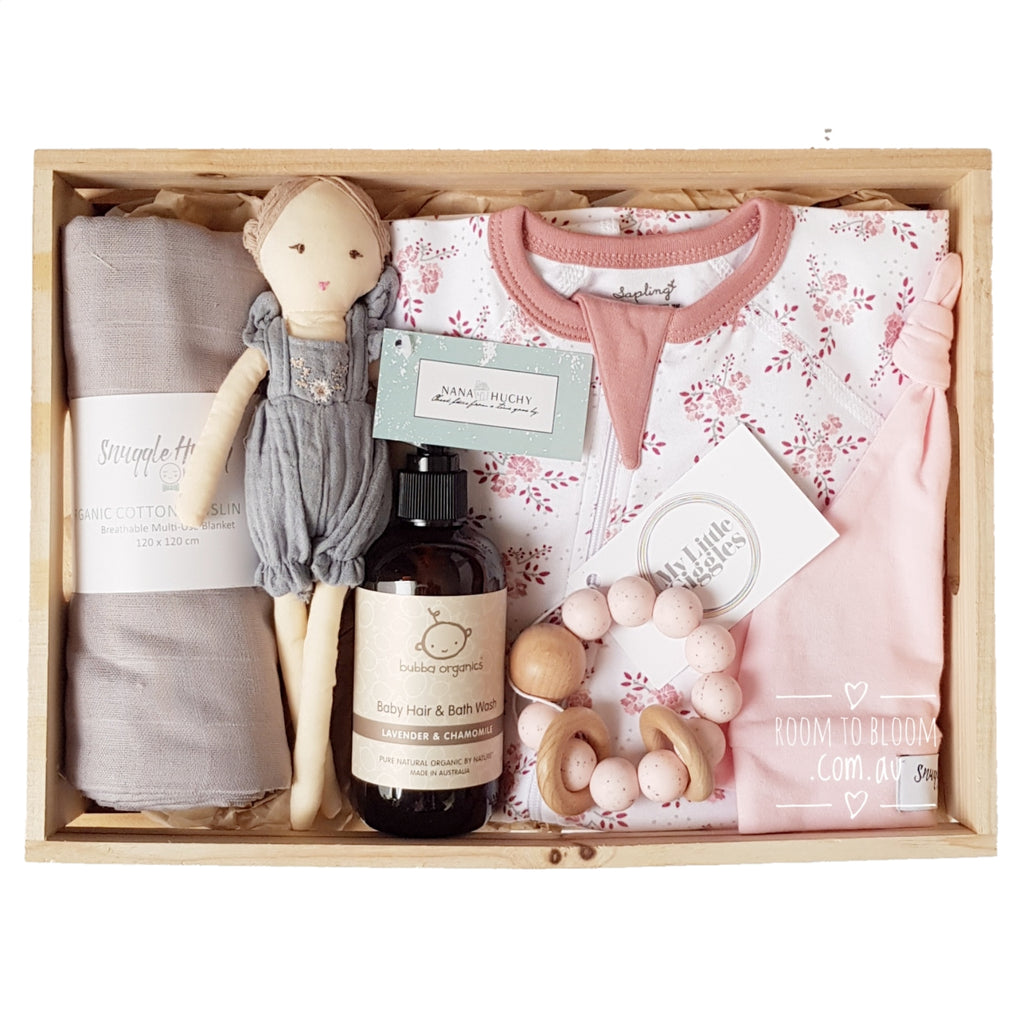 Room to Bloom Miss Dainty Baby Gift - Wooden Box Hamper