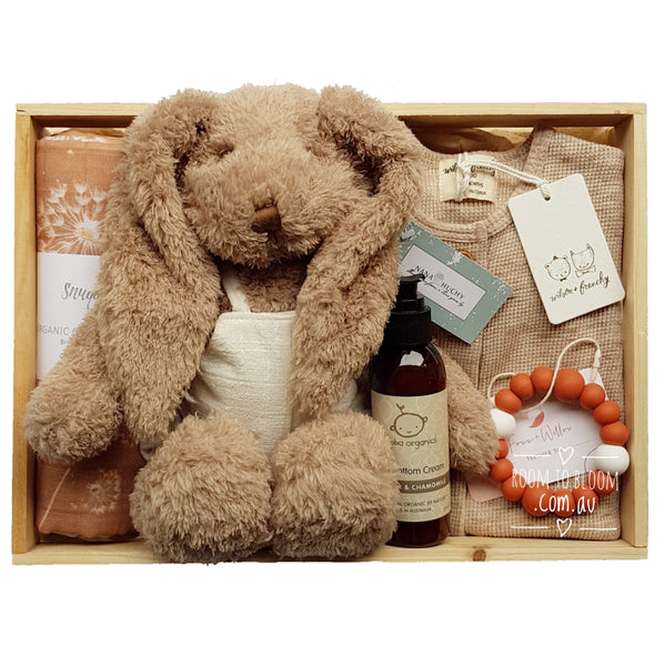 Room to Bloom Mocha Caramel Baby Gift - Wooden Box Hamper