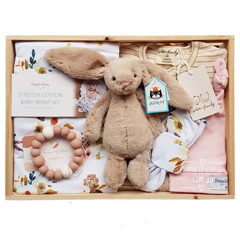 Room to Bloom Wildflowers Baby Gift - Wooden Box Hamper