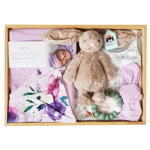 Room to Bloom Amethyst Dream Baby Gift - Wooden Box Hamper