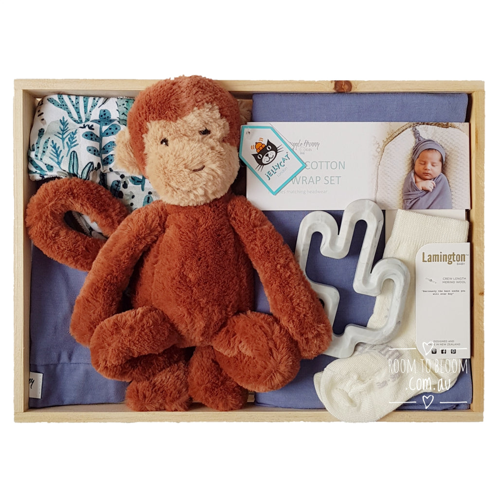 Room to Bloom Monkey Business Baby Gift - Wooden Box Hamper