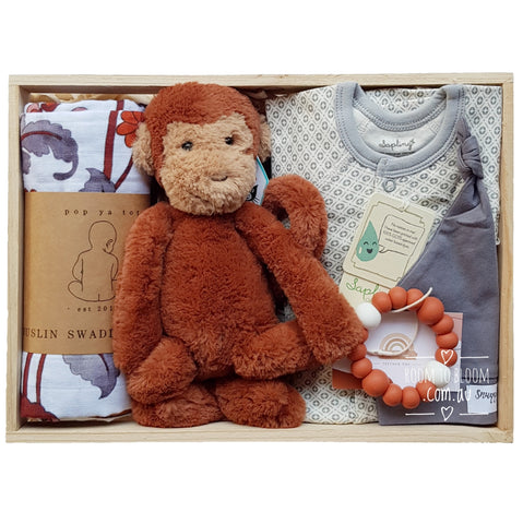 Room to Bloom Monkey in the Middle Baby Gift - Wooden Box Hamper