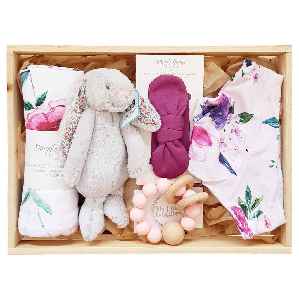Room to Bloom Mulberry Baby Gift - Wooden Box Hamper