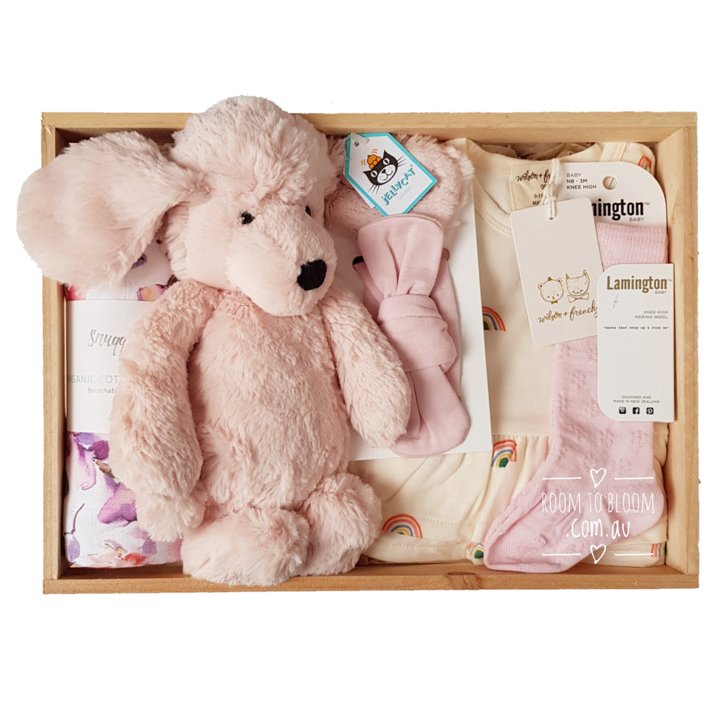 Room to Bloom Oodles of Love Baby Gift - Wooden Box Hamper