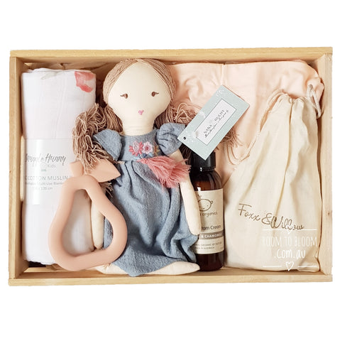 Room to Bloom Peaches & Cream Baby Gift - Wooden Box Hamper