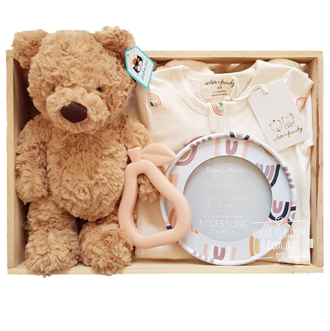 Peachy Baby Gift - Wooden Box Hamper