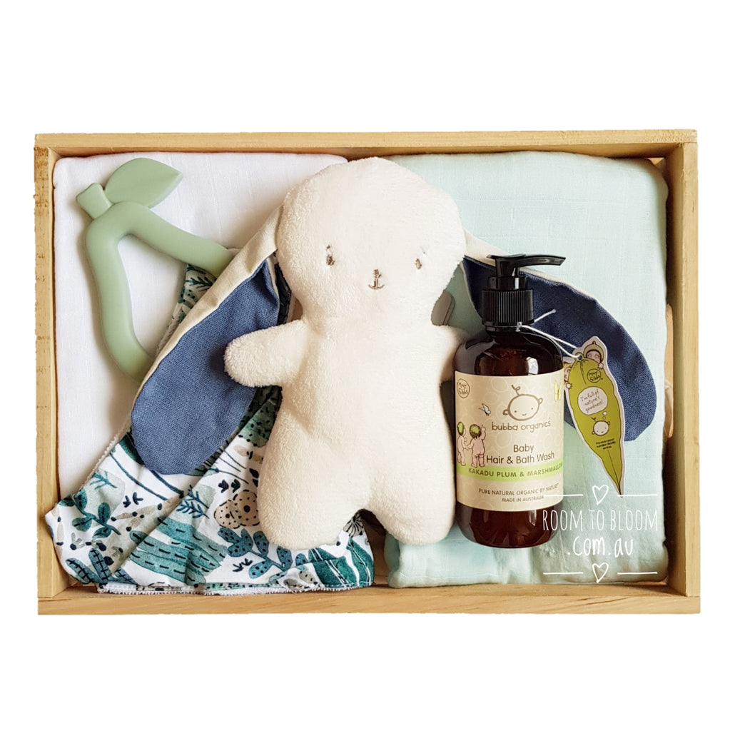 Room to Bloom Pear Tree Baby Gift - Wooden Box Hamper
