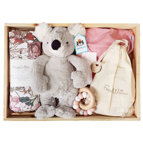 Room to Bloom Pixie Baby Gift - Wooden Box Hamper