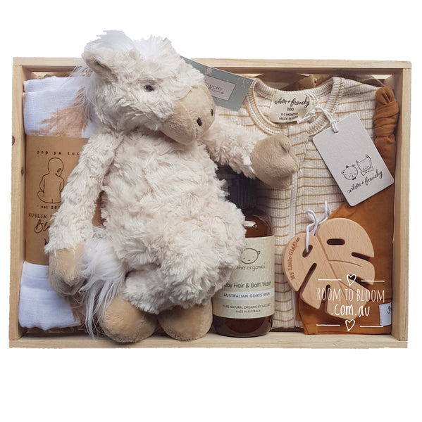 Room to Bloom Prairie Baby Gift - Wooden Box Hamper