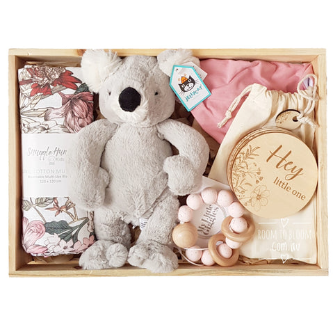 Room to Bloom Priscilla Baby Gift - Wooden Box Hamper