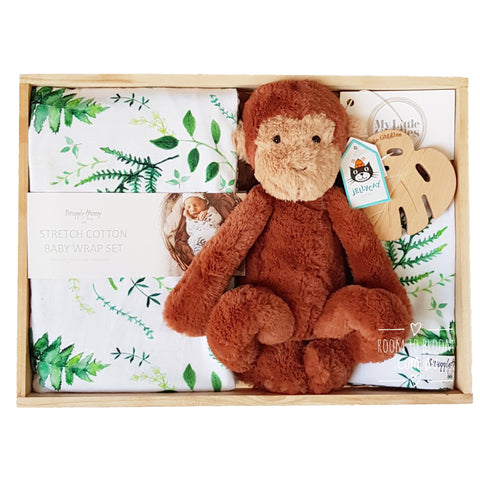 Room to Bloom Rainforest Baby Gift - Wooden Box Hamper