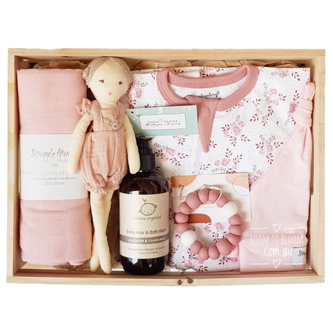 Room to Bloom Raspberry Kisses Baby Gift - Wooden Box Hamper