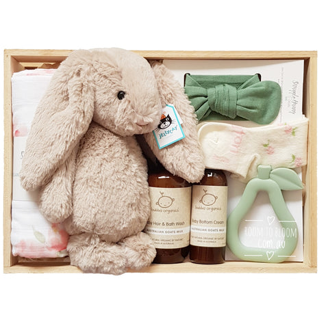 Room to Bloom Rosie Baby Gift - Wooden Box Hamper