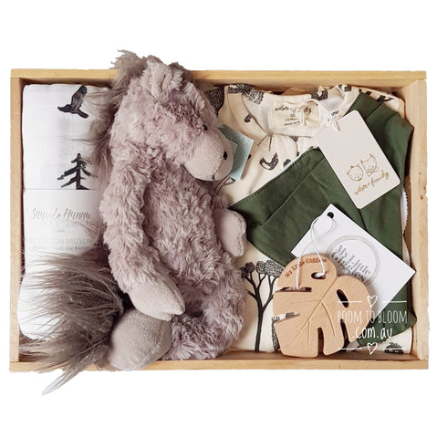 Room to Bloom Run Wild Baby Gift - Wooden Box Hamper