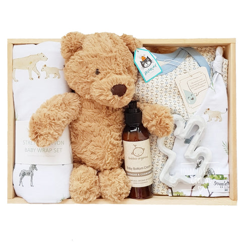 Room to Bloom Safari Story Baby Gift - Wooden Box Hamper