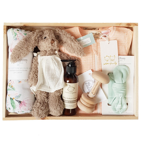 Room to Bloom Scarlet Baby Gift - Wooden Box Hamper