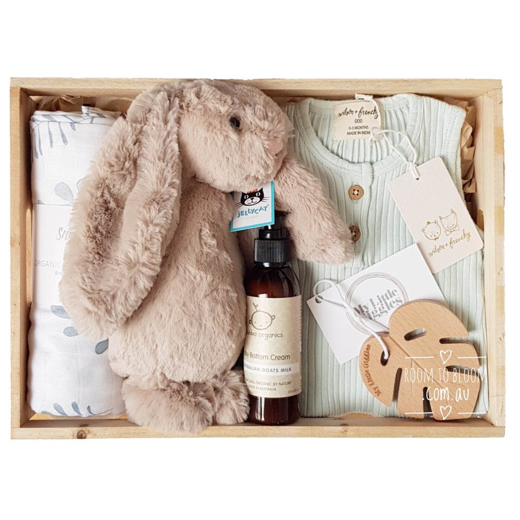 Room to Bloom Sea-Kissed Baby Gift - Wooden Box Hamper