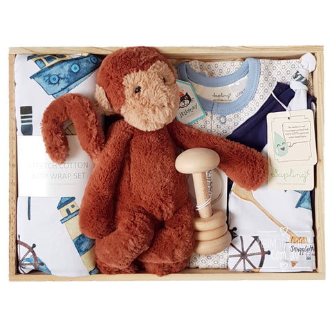 Room to Bloom Sea Monkey Baby Gift - Wooden Box Hamper