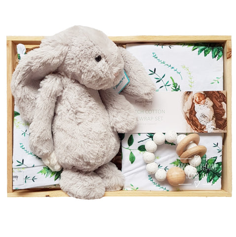 Room to Bloom Silver Fern Baby Gift - Wooden Box Hamper