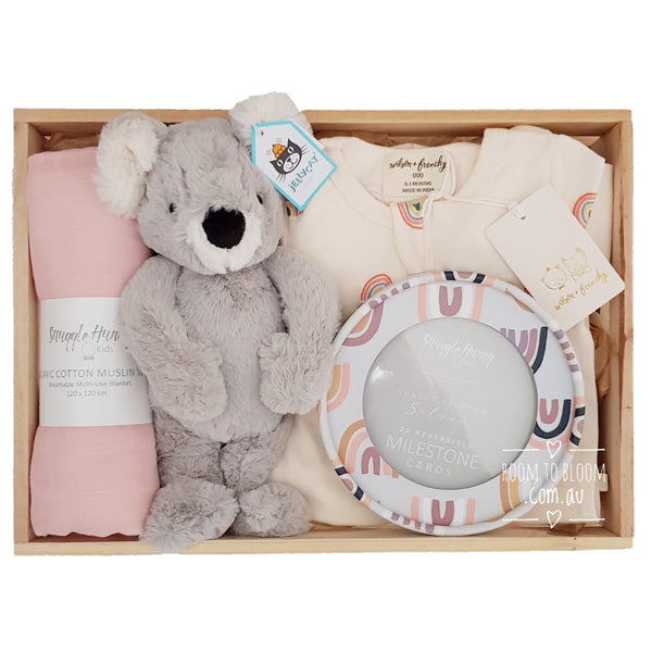 Room to Bloom Skyward Baby Gift - Wooden Box Hamper