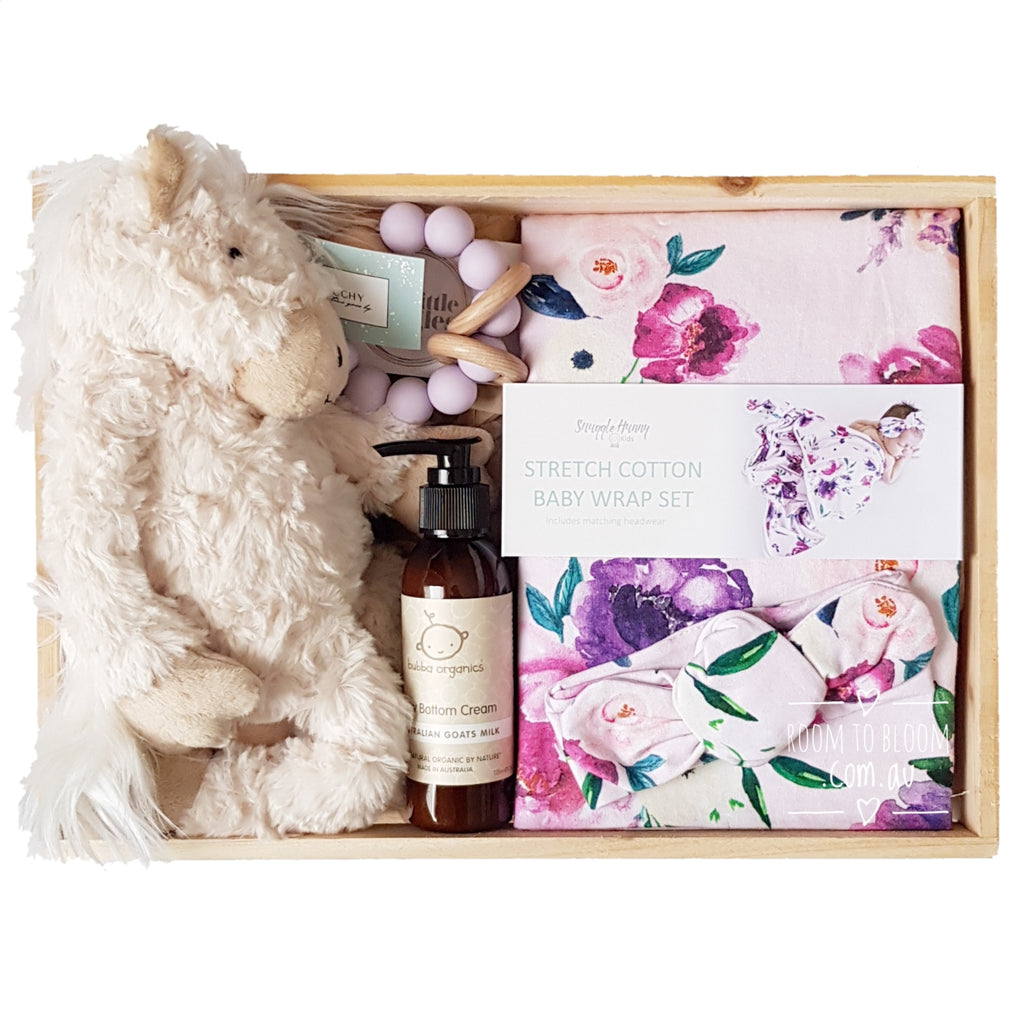 Room to Bloom Somerset Baby Gift - Wooden Box Hamper