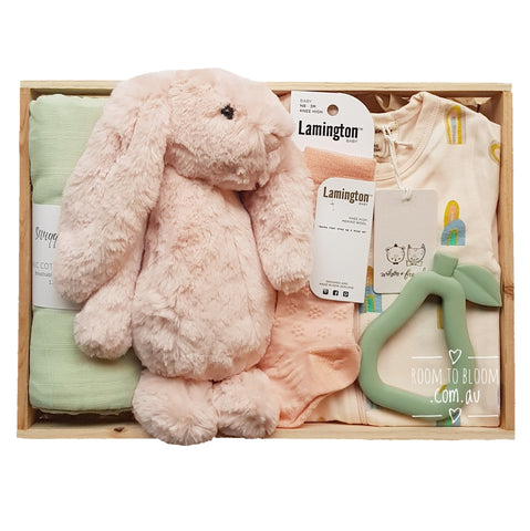 Room to Bloom Sorbet Surprise Baby Gift - Wooden Box Hamper