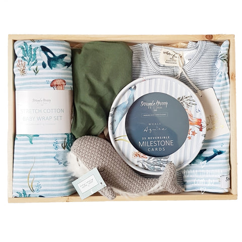 Room to Bloom Splish Splash Baby Gift - Wooden Box Hamper