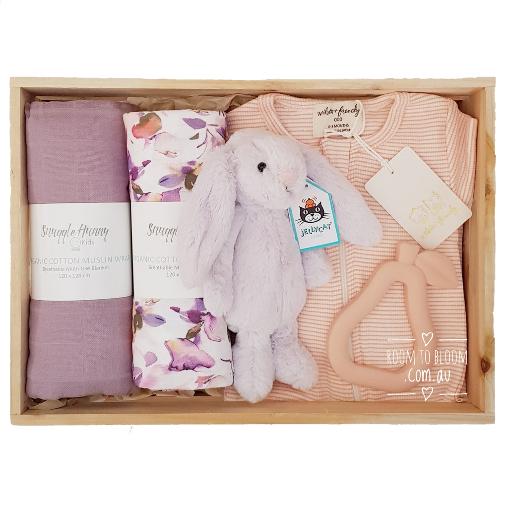 Room to Bloom Wisteria Baby Gift - Wooden Box Hamper
