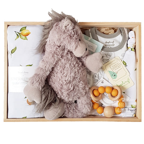 Room to Bloom Sweet Clementine Baby Gift - Wooden Box Hamper