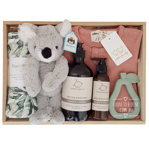 Room to Bloom Terra Australis Baby Gift - Wooden Box Hamper