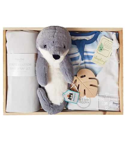Room to Bloom The Real Seal Baby Gift - Wooden Box Hamper
