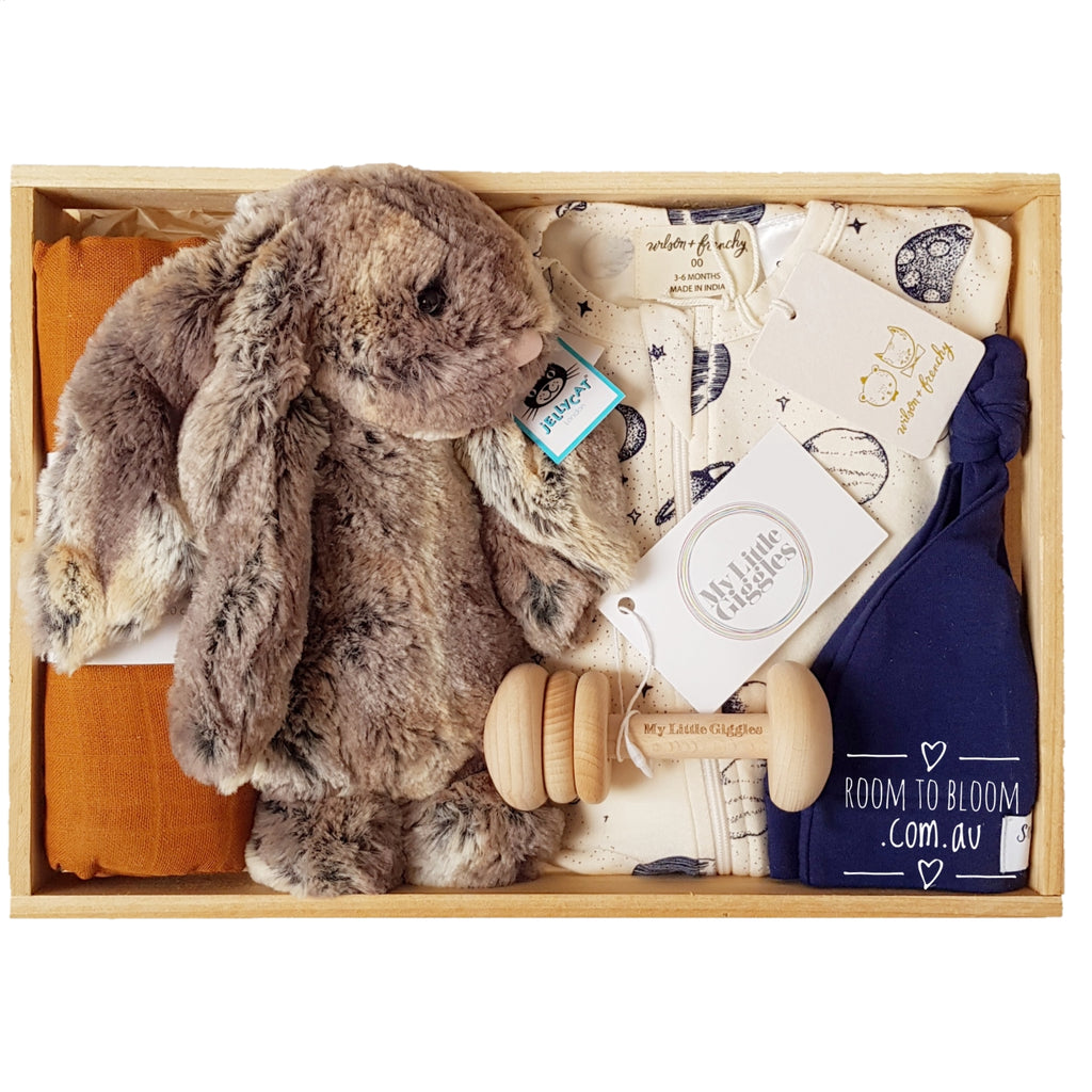 Room to Bloom To The Moon Baby Gift - Wooden Box Hamper