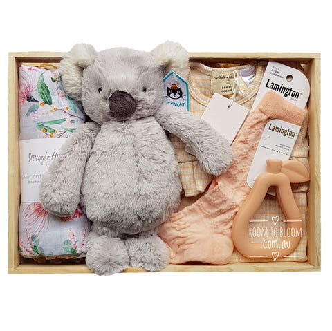 Room to Bloom Wattle & Gum Baby Gift - Wooden Box Hamper