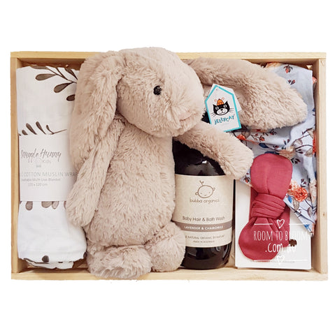 Room to Bloom Wild Rose Baby Gift - Wooden Box Hamper